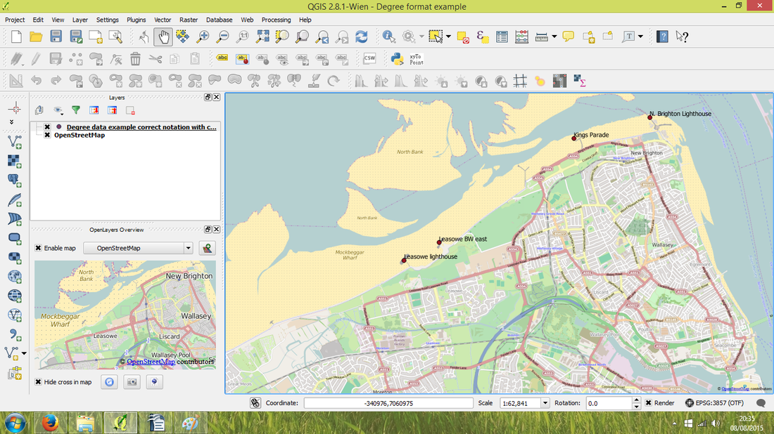 QGIS map of comma separated data of degree format data